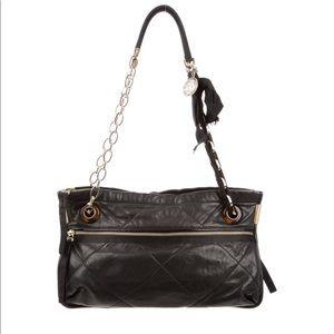 Lanvin Black Quilted Lambskin Leather Shoulder Bag
